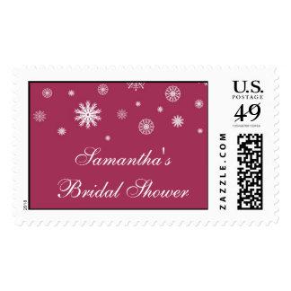 Burgundy White Bridal Shower Winter Wedding Stamp