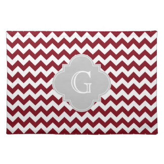 Burgundy White Chevron Gray Quatrefoil Monogram Cloth Place Mat