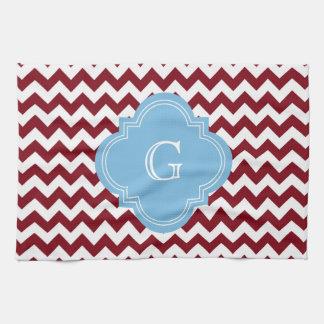 Burgundy White Chevron Zig-Zag Lt Blue Monogram Hand Towel