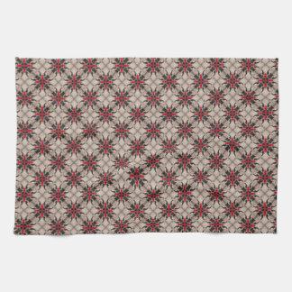 Burgundy White Cross Trellis Moroccan Quatrefoil Towels
