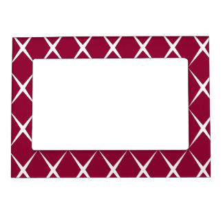 Burgundy White Diamond Pattern Magnetic Frame