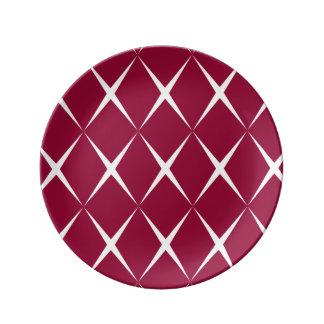 Burgundy White Diamond Pattern Plate