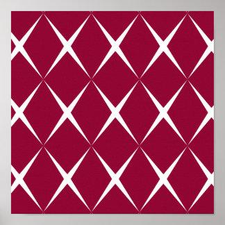 Burgundy White Diamond Pattern Poster
