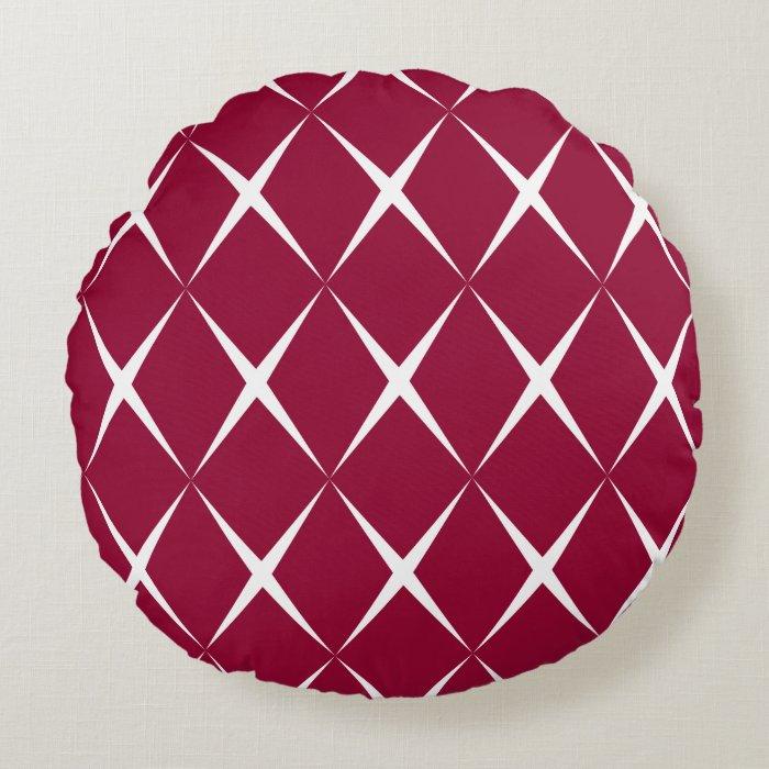 Burgundy White Diamond Pattern Round Pillow Zazzle
