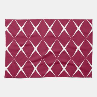 Burgundy White Diamond Pattern Towel