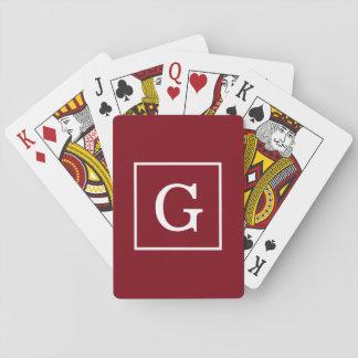 Burgundy White Framed Initial Monogram Playing Cards
