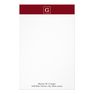 Burgundy White Framed Initial Monogram Stationery