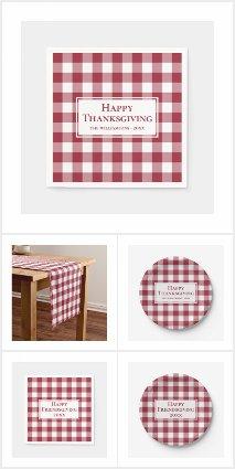 Burgundy White Gingham Plaid Thanksgiving Supplies