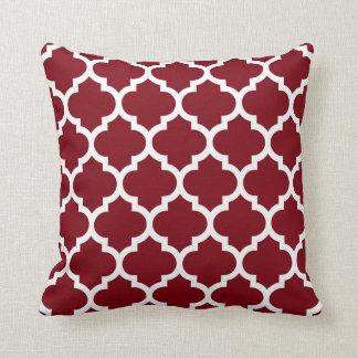 Burgundy White Moroccan Quatrefoil Pattern #5 Pillow