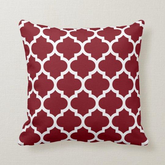 Burgundy White Moroccan Quatrefoil Pattern #5 Throw Pillow