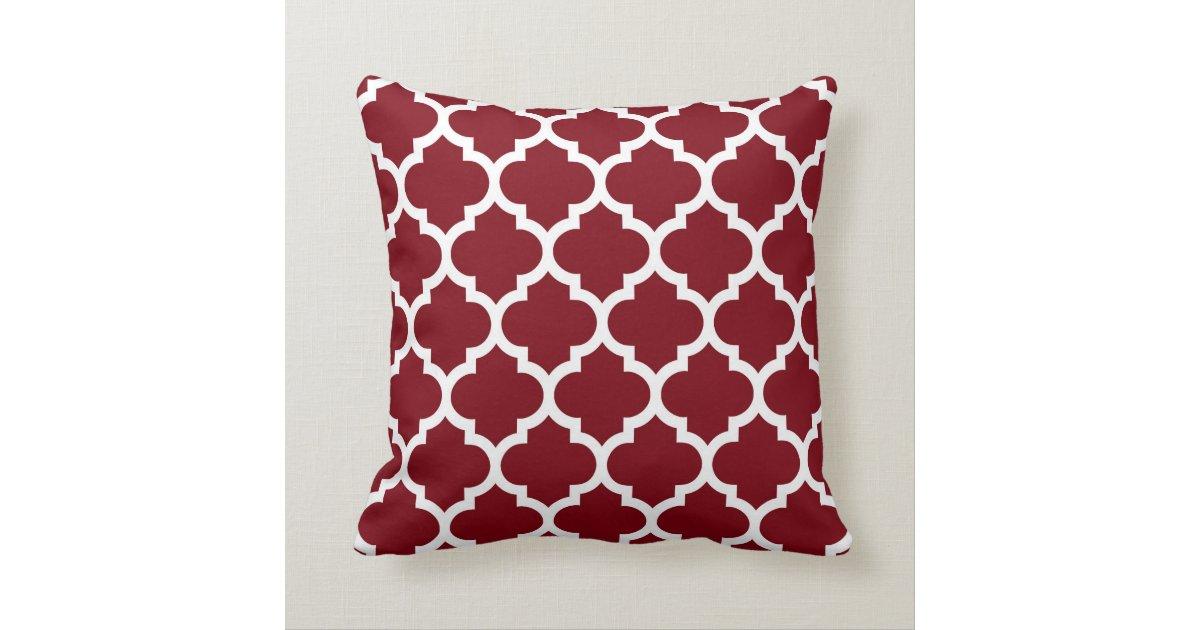 Quatrefoil Knitting Pattern : Burgundy White Moroccan Quatrefoil Pattern #5 Throw Pillow Zazzle