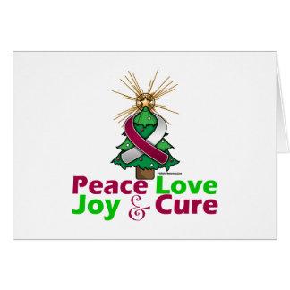 Burgundy & White Ribbon Christmas Peace Love, Joy Greeting Card