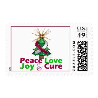 Burgundy & White Ribbon Christmas Peace Love, Joy Stamp