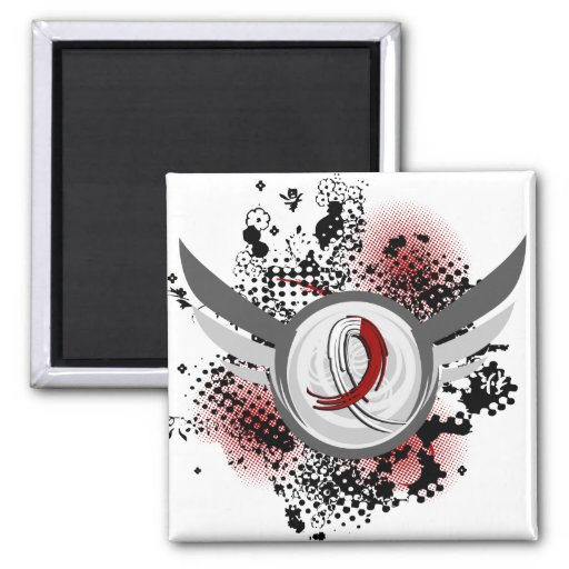 Burgundy White Ribbon Wings Head Neck Cancer 2 Inch Square Magnet