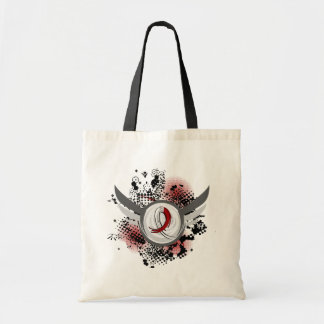 Burgundy White Ribbon Wings Head Neck Cancer Tote Bag