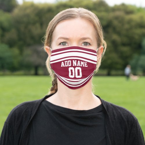 Burgundy  White Sports Jersey Custom Name Number Cloth Face Mask