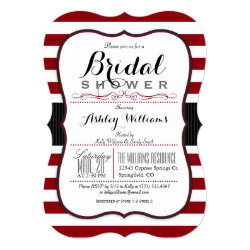 Burgundy & White Stripes; Elegant Bridal Shower Card