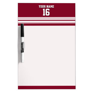 Burgundy White Team Jersey Custom Number Name Dry-Erase Board