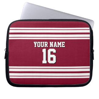 Burgundy White Team Jersey Custom Number Name Laptop Sleeve