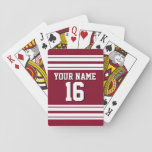 "Burgundy White Team Jersey Custom Number Name Playing Cards<br><div class=""desc"">Preppy Sporty Burgundy with White Stripes Team Jersey / Sports Jersey / Football Jersey with Custom Name, Custom Number Customize this with your own name or team name and a number. You can change the size, color and placement of the text if you need to make changes, remove or change...</div>"