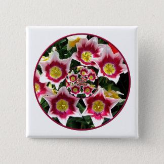 "Burgundy & White Tulips w/ ""feedback"" effect Button"