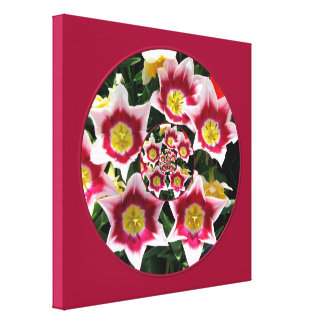"Burgundy & White Tulips w/ ""feedback"" effect Canvas Print"