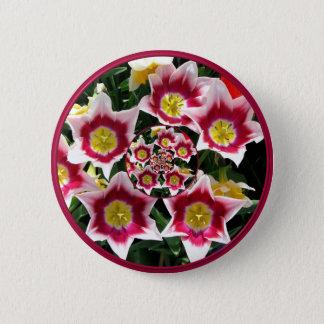 "Burgundy & White Tulips w/ ""feedback"" effect Pinback Button"