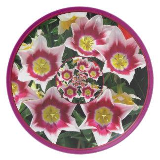 "Burgundy & White Tulips w/ ""feedback"" plate"