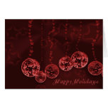 Burgundy Wine Christmas Ornaments and Stars Greeting Card
