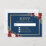 "Burgundy Wine Color Floral Gold Navy Blue RSVP<br><div class=""desc"">Burgundy Wine Color Floral Gold Navy Blue RSVP Reply Card. (1) You are able to change the Background Color to Any Color by clicking the &quot;customize further&quot; link and use our design tool to set the background color. (2) If you prefer Thicker papers / Matte Finish, you may consider to...</div>"