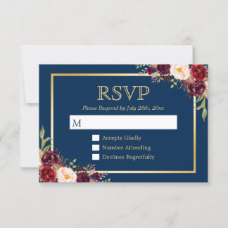 Burgundy Wine Color Floral Gold Navy Blue RSVP