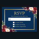 """Burgundy Wine Color Floral Gold Navy Blue RSVP Card<br><div class=""""desc"""">================= ABOUT THIS DESIGN ================= Burgundy Wine Color Floral Gold Navy Blue RSVP Reply Card. (1) You are able to change the Background Color to Any Color by clicking the &quot;Customize&quot; button and then setting the background color. All text style, colors, sizes can also be modified to fit your needs....</div>"""