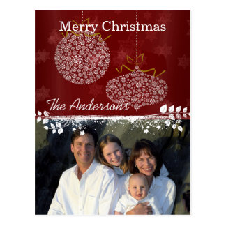 Burgundy Wine Family Christmas Photo Postcard