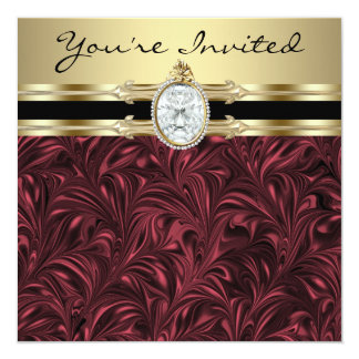 Burgundy Wine Gold Womans Birthday Party Card