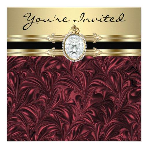 Burgundy Wine Gold Womans Birthday Party Custom Invite