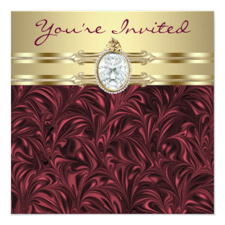 Burgundy Wine Gold Womans Birthday Party Custom Announcement