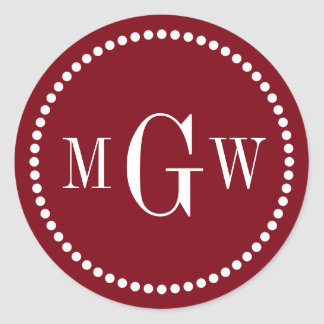 Burgundy Wine Monogram Envelope Seals Favor Tags Classic Round Sticker