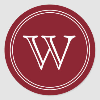 Burgundy Wine Monogram Envelope Seals Favor Tags Stickers