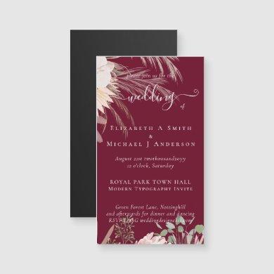 Burgundy Wine Pampas Grass Tropical Wedding