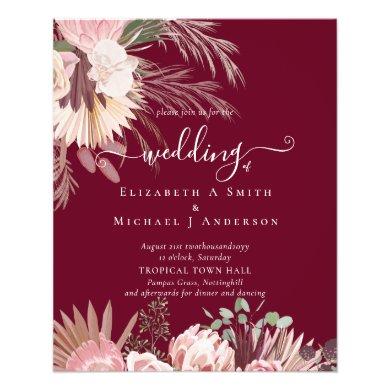 Burgundy Wine Pampas Grass Tropical Wedding Flyer