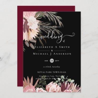 Burgundy Wine Pampas Grass Tropical Wedding Invitation