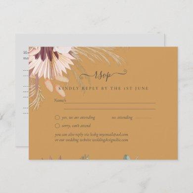 Burgundy Wine Pampas Grass Tropical Wedding Postcard