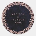 Burgundy Wine & Rose Gold Monogram Wedding Classic Round Sticker
