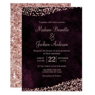 Burgundy Wine & Rose Gold Wedding Invitation