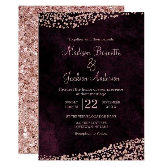 Burgundy Wine Rose Gold Wedding Invitation Zazzlecom