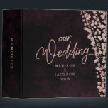 """Burgundy Wine &amp; Rose Gold Wedding Photo Album 3 Ring Binder<br><div class=""""desc"""">Burgundy Wine Watercolor &amp; Rose Gold Glam Confetti Perfect for Fall or Winter Wedding Photo Album With trendy Hand Lettered Script font! ~ Check my shop to see the entire wedding collection with this design!</div>"""