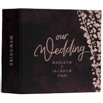 Burgundy Wine & Rose Gold Wedding Photo Album 3 Ring Binder