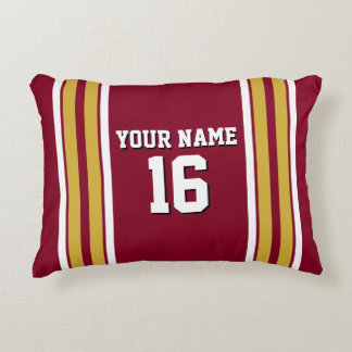 Burgundy with Gold White Stripes Team Jersey Accent Pillow