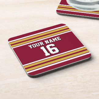 Burgundy with Gold White Stripes Team Jersey Beverage Coaster