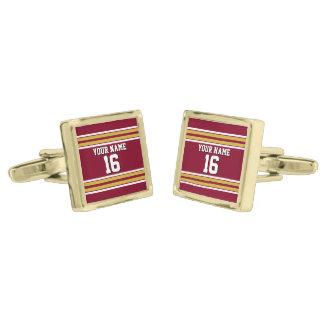 Burgundy with Gold White Stripes Team Jersey Cufflinks